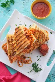Leftover spaghetti & meatball panini